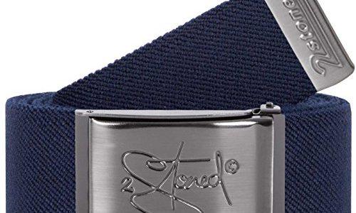 140cm – Original 2Stoned Stretchgürtel elastisch Classic Matt gestanzt, Navy, One Size, 120cm