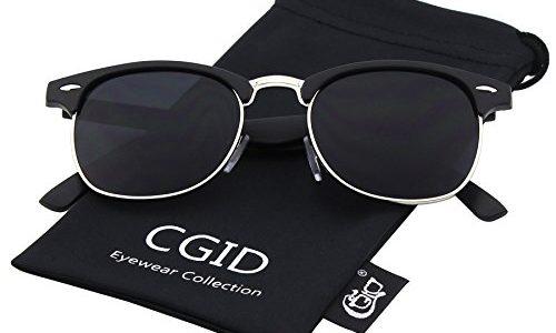 CGID CN56 Clubmaster clubma Retro Vintage Sonnenbrille im angesagte 60er Browline-Style mit markantem Halbrahmen Sonnenbrille,Matte Schwarz-Grau