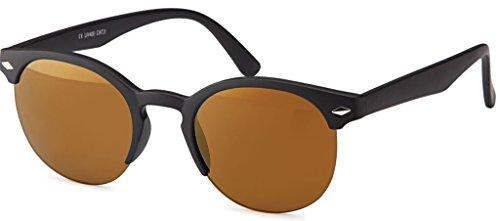 Origina La Optica Damen Retro Sonnenbrille im Wayfarer Stil – Verschiedene Designs, Farben und Sets Matt Schwarz Gläser: Braun verspiegelt