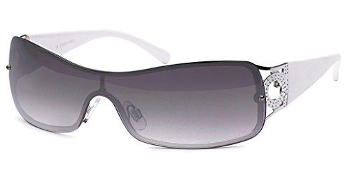 UVprotect® leichte schmale Damen Monoglas sportlicher Style Sonnenbrille weiss W70-3