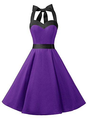 Dresstells Neckholder Rockabilly 50er Vintage Retro Kleid Petticoat Faltenrock Purple Black M