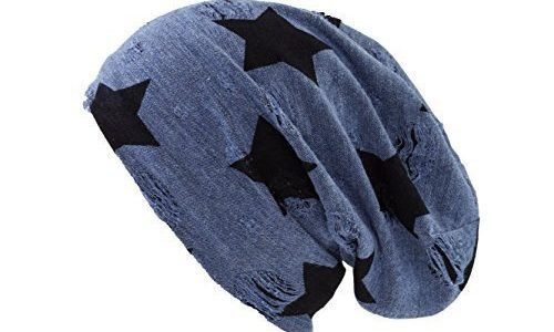 Shenky Chemomützen unisex dünne Mütze bei Haarausfall Haarverlust Chemotherapie Beanie Blau Distressed Stern