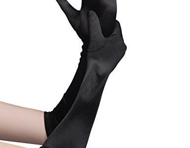 Babeyond Damen Handschuhe Satin Classic Opera Fest Party Audrey Hepburn Handschuhe 1920er Stil Handschuhe Elastisch Erwachsene Größe Ellenbogen bis Handgelenk Länge 52/55cm Lang Glatt 52cm / Schwarz