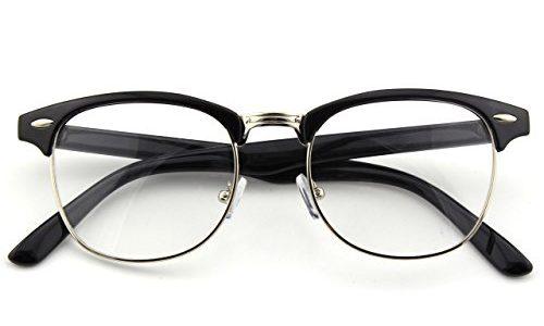 CGID 50er Jahre Retro Nerd Brille Halbrahmen Hornbrille Clubmaster Stil Rockabilly Streberbrille,Glossy Schwarz