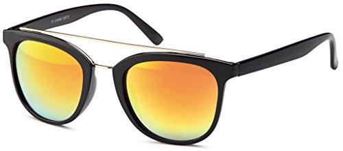 Verschiedene Designs, Farben und Sets Glänzend Schwarz Gläser: Rot verspiegelt – Origina La Optica Damen Retro Sonnenbrille im Wayfarer Stil