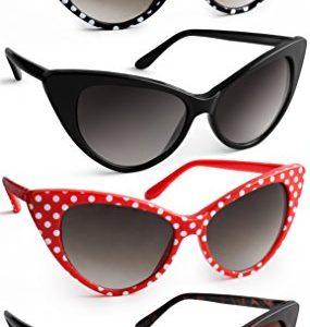 UVprotect® Damen Retro Polka Dot Sonnenbrille Weiss Polka W45