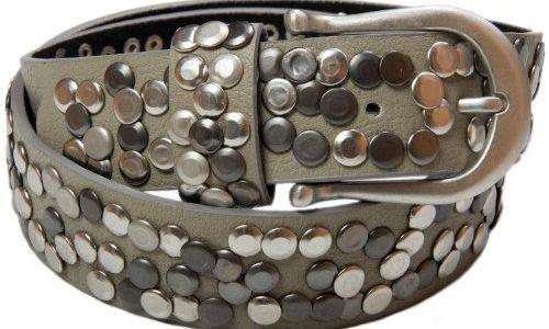 styleBREAKER Nieten Gürtel im Vintage Style mit echtem Leder 03010008 100cm, Grau