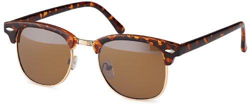 Vintage Sonnenbrille im angesagten 60er Browline-Style mit markantem Halbrahmen, auch für schmalere Gesichter und Kopfformen leo – ohne Verlauf