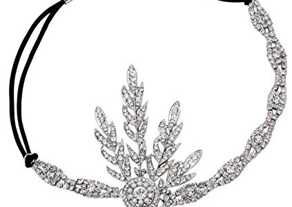 Babeyond 1920s Stil Blatt-Medaillon Rundes Stirnband mit Perlen Inspiriert von Der Groe Gatsby Accessoires fr Damen, Silver1,
