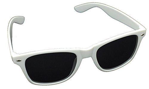 45 verschiedene Farben/Modelle wählbar Weiß Tönung – BOOLAVARD® Nerd Sonnenbrille im Wayfarer Stil Retro Vintage Unisex Brille