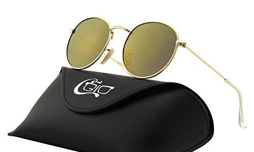 CGID Kleine Retro Vintage Sonnenbrille, inspiriert von John Lennon, polarisiert mit rundem Metallrahmen, für Frauen und Männer E47
