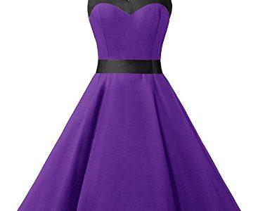 Dresstells Neckholder Rockabilly 50er Vintage Retro Kleid Petticoat Faltenrock Purple Black L