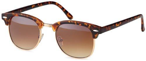 Vintage Sonnenbrille im angesagten 60er Browline-Style mit markantem Halbrahmen Clubmaster unisex braun-leo-Verlauf
