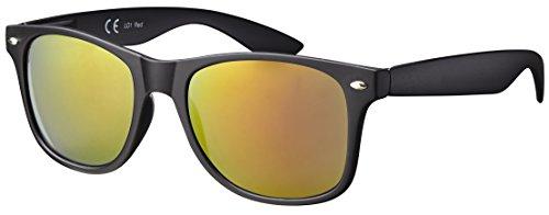 Original La Optica UV400 Verspiegelt Unisex Retro Sonnenbrille Wayfarer – Einzelpack Gummiert/Rubber Schwarz Gläser: Rot verspiegelt LO1 R-Red