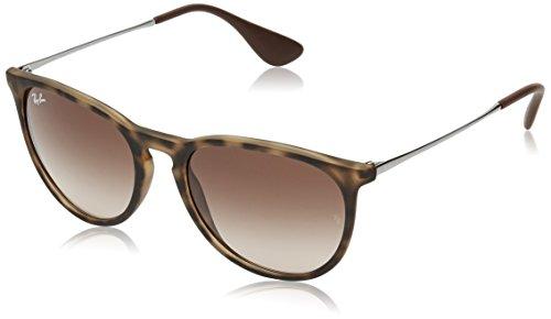 Ray Ban Unisex Sonnenbrille Erika Classic, Mehrfarbig Gestell: Havana/Gunmetal, Gläser: Braun Verlauf 865/13, 54 mm