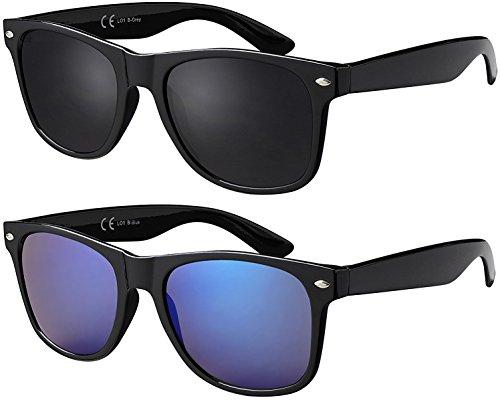 Doppelpack Glänzend Schwarz Gläser: 1 x Grau, 1 x Blau verspiegelt LO1 B-Grey/B-Blue – Original La Optica UV400 Verspiegelt Unisex Retro Sonnenbrillen Wayfarer