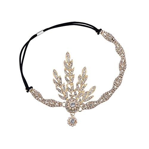 Babeyond® 1920s Stil Blatt-Medaillon Rundes Goldenes Stirnband mit Perlen Inspiriert von Der Große Gatsby Accessoires für Damen