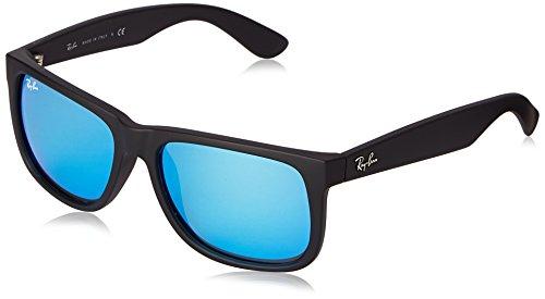 Ray Ban Unisex Sonnenbrille RB4165, Gr. Large Herstellergröße: 55, Schwarz Gestell: Schwarz, Gläser: Blau Verspiegelt 622/55