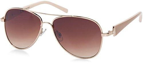 styleBREAKER elegante Damen Pilotenbrille getönt, Aviator Sonnenbrille mit lackierten Bügeln und Strassstein 09020053, Farbe:Gestell Gold-Braun / Glas Braun verlaufend