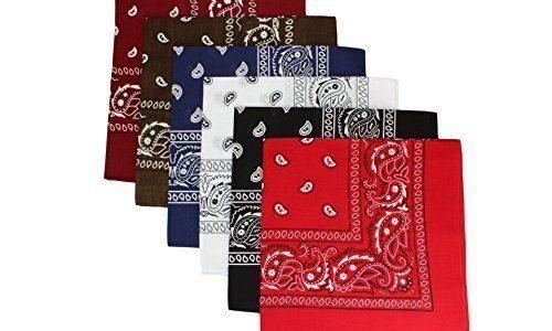 6 Pack Bandanas gemischt in 6 verschiedenen Farben | Sortierung 1
