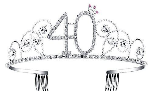 BABEYOND® Kristall Geburtstag Tiara Birthday Crown Prinzessin Kronen Haar-Zusätze Silber Diamante Glücklicher 18/20/21/30/40/50/60 Geburtstag 40 Jahre alt