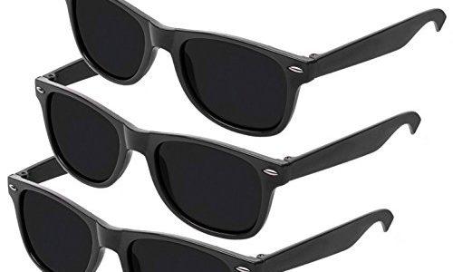 Nerd Sonnenbrille im Wayfarer Stil Retro Vintage Unisex Brille – Boolavard® TM 3 Paare Schwarz Tönung