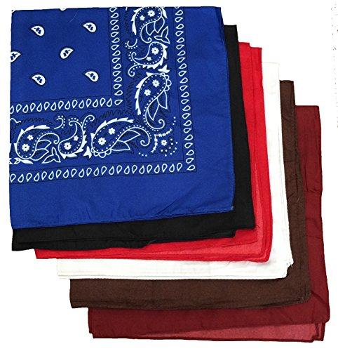 BOOLAVARD 100% Baumwolle, Paisley Bandana Headwear / Haar Schal Ansatz Handgelenk Verpackungs Band Kopf Bindung Schwarz, Rot, Blau, Weiß, etc. 6er Gemischt