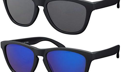 Farben, Einzel-/Doppelpacks Doppelpack Rubber Schwarz Gläser: 1 x Grau, 1 x Blau verspiegelt – Original La Optica Verspiegelte UV400 Unisex Sonnenbrille Schmetterling Style
