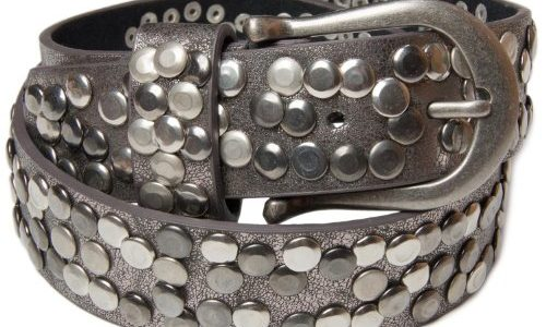 styleBREAKER Nieten Gürtel im Vintage Style mit echtem Leder 03010008 110cm, Antik-Grau