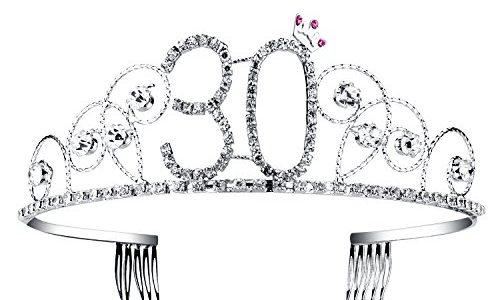 BABEYOND® Kristall Geburtstag Tiara Birthday Crown Prinzessin Kronen Haar-Zusätze Silber Diamante Glücklicher 18/20/21/30/40/50/60 Geburtstag 30 Jahre alt