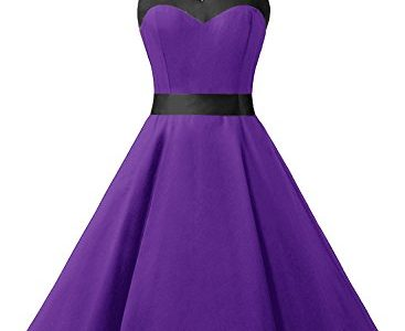 Dresstells Neckholder Rockabilly 50er Vintage Retro Kleid Petticoat Faltenrock Purple Black XL
