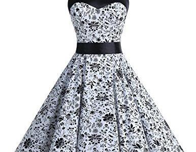 Dresstells Neckholder Rockabilly 50er Vintage Retro Kleid Petticoat Faltenrock White Skull XS