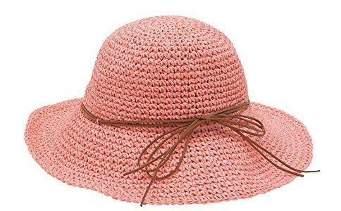 Urbancoco Damen klappbare Kappe flexible Sommer Strand Sonne Hüte pfirsich