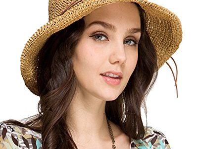 Urbancoco Damen klappbare Kappe flexible Sommer Strand Sonne Hüte Hellbraun