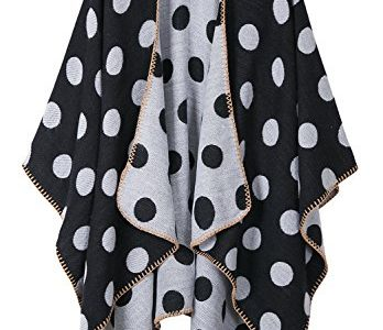 Urbancoco Damen Winter Kariert Capes Patchwork Strickjacke Winterschal Poncho Stola dot weiß
