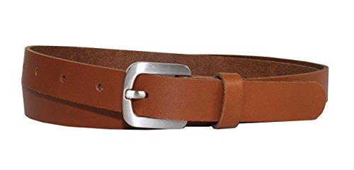 Ledergürtel 100 % echt Leder Gürtel, Jeansgürtel, Hüftgürtel, Vascavi, Made in Germany, 2 cm breit und ca. 0.25 cm stark 105 cm Gesamtlänge 115 cm, Cognac