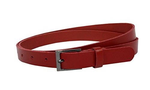 Ledergürtel 100 % echt Leder, Made in Germany, 2 cm breit und ca. 0.25 cm stark, Gürtel, Hüftgürtel, Jeansgürtel, Vascavi 90 cm Gesamtlänge 100 cm, Rot