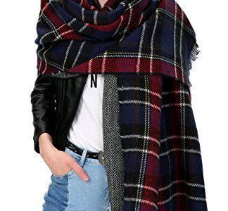 Urbancoco Damen Klassische Karierten Schal Langer Winter Poncho Stola #2 navy