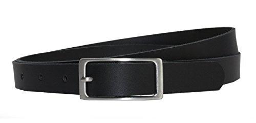 Ledergürtel 100 % echt Leder, 2 cm breit und ca. 0.25 cm stark, Gürtel, Hüftgürtel, Jeansgürtel, Made in Germany 105 cm Gesamtlänge 115 cm, Schwarz