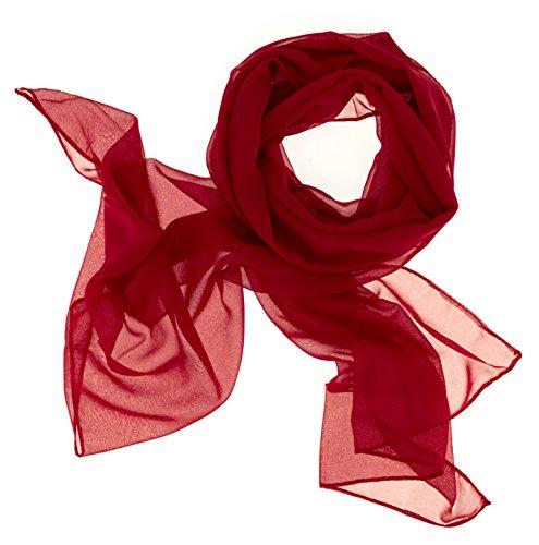 98798a722c415f Dolce Abbraccio Damen Schal Stola Halstuch Tuch aus Chiffon für Frühling  Sommer Ganzjährig Rot