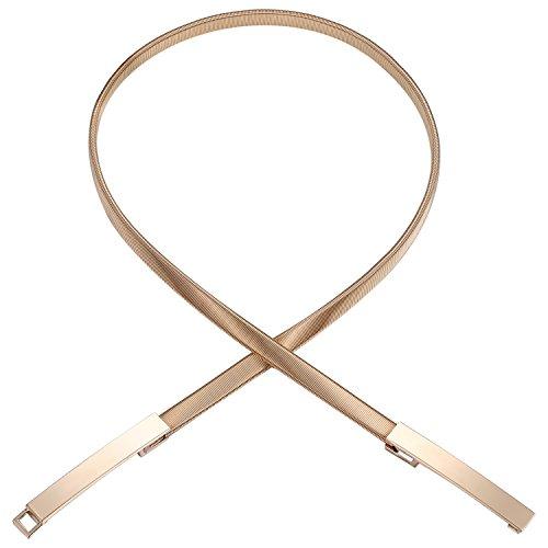 9ff445a39f6f04 BABEYOND Damen Taillengürtel Metallic dekorativ Gürtel schmal Gürtel  elastisch Taille Strap Stretchy modisch Gürtel für Kleider Style-6-gold