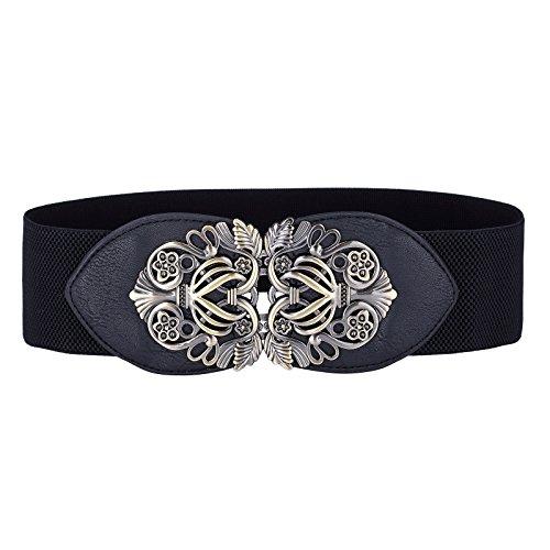 96ef53eab28071 Grace Karin Damen Fashion breit Metall Haken stretch elastisch Taille Gürtel  mehrfarbig CL414