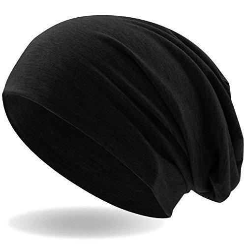 e71e195c1fbd46 Hatstar Klassische Slouch Long Beanie Mütze, leicht und weich, für Damen  und Herren Schwarz