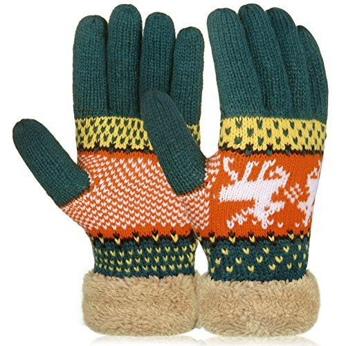7104f757670d6d Vbiger Winter Handschuhe Warme Handschuhe Baumwolle Damen Frauen Handschuhe,  Dunkelgrünm, One Size