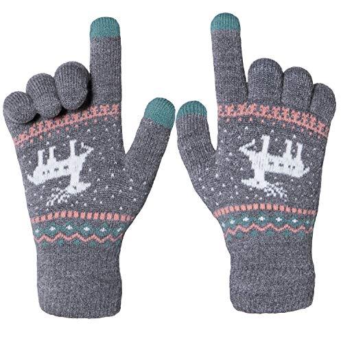 f57056ad40f53e Chalier Damen Strick Handschuhe Touchscreen warme Fäustlinge Winter  Damenhandschuhe mit Fleecefutter