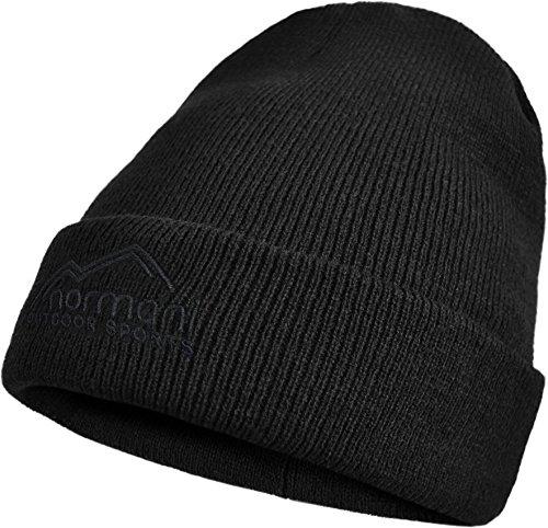 b918f6a67fcb69 normani Herren Wintermütze Skimütze mit Thinsulatefütterung extra warm Farbe  Black