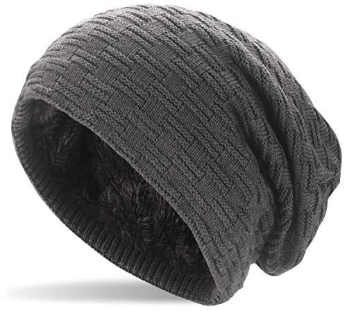 5f4c7397ddd357 Hatstar Warme gefütterte Feinstrick Beanie Mütze mit Flecht Muster und Sehr  Weichem Fleece Innenfutter Wintermütze Damen Herren