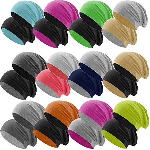 c75af9a21a7e20 Hatstar Bicolor Jersey Slouch Long Beanie Mütze, leicht und weich,  Reversible Beanie für Damen und Herren Zwei-farbig   Bicolor  hellgrau-schwarz