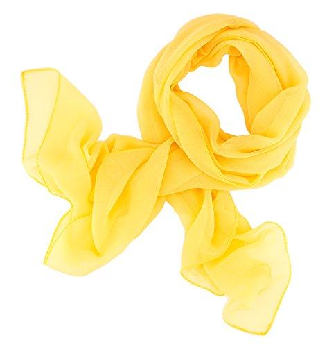 daf396fff51cdf Dolce Abbraccio Damen Schal Stola Halstuch Tuch aus Chiffon für Frühling  Sommer Ganzjährig Sonnengelb Gelb
