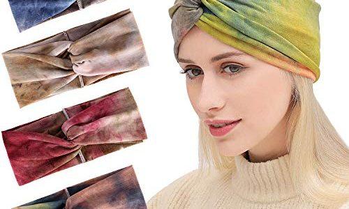 da7348cff44b3 Bascolor Stirnband Damen elastische Haarband Kopfband Weich Turban Stirnband  für Alltag Yoga Sport Fitness 4pcs tie dye stirnband